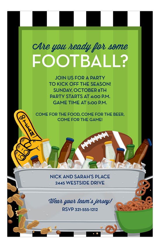 Football and Beer Invitation super bowl party invitation ideas