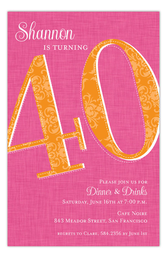 Forty Reasons 40th Birthday Invitation