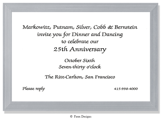 Frame Silver on White Invitation