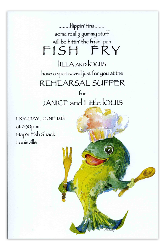 Fry daddy invitation fish fry rehearsal supper for Fish daddy s menu