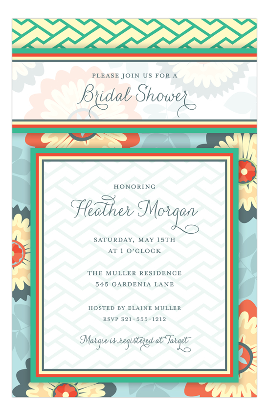 Garden Blooms Wedding Shower Invitations