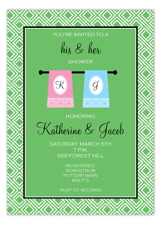 Geometric His and Hers Towel Set Invitation