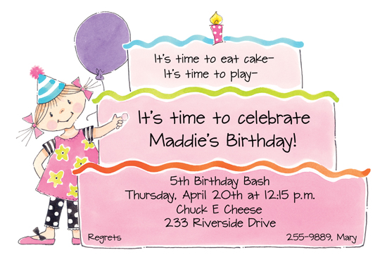 Girl birthday cake die cut invitation polka dot design girl birthday cake die cut invitation stopboris Image collections