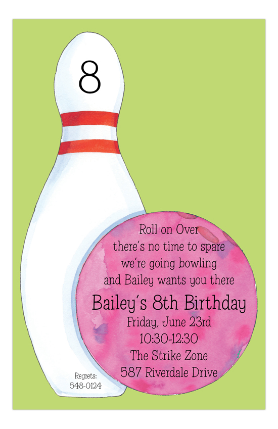 Girl Bowling Party Invitation