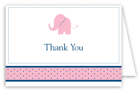 Girl Elephant Icon Folded Note Card