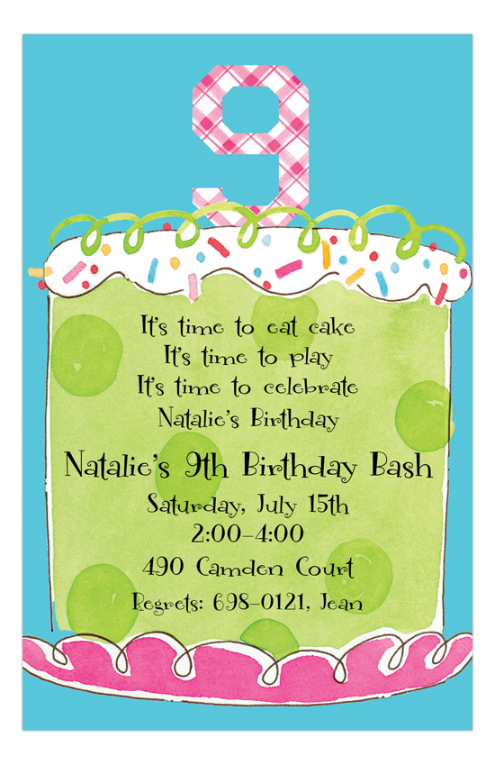 Girl Ninth Birthday Invitation Polka Dot Design
