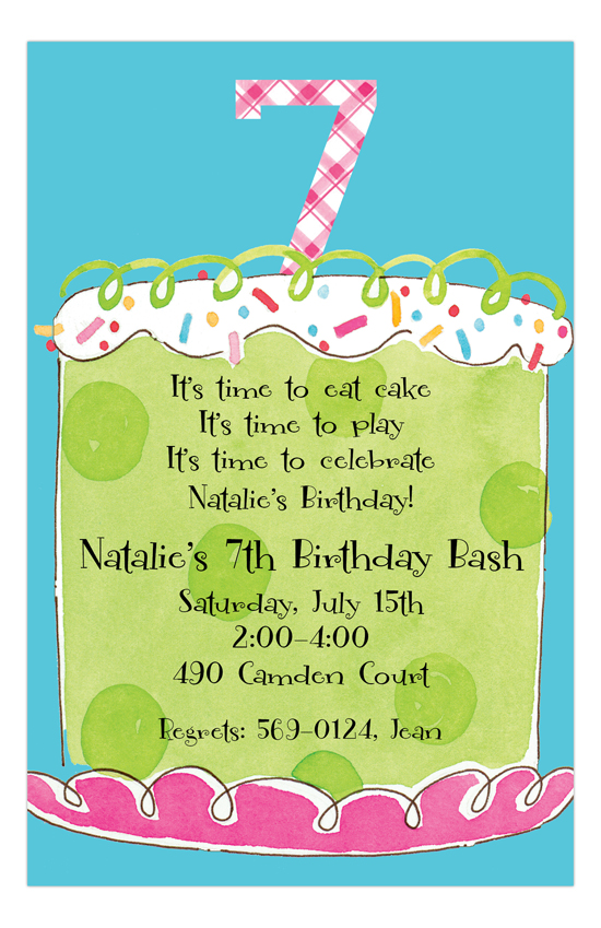 Girl Seventh Birthday Invitation