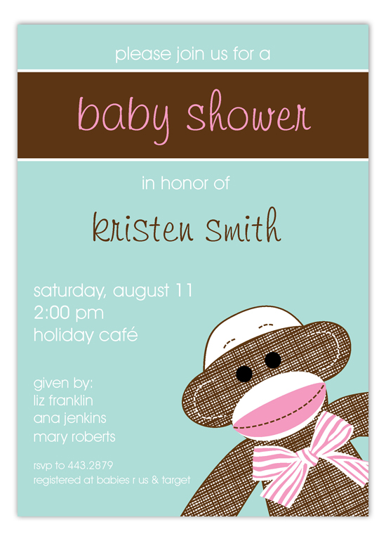 Girl Sock Monkey Invitation