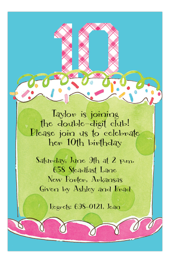 Girl Tenth Birthday Invitation