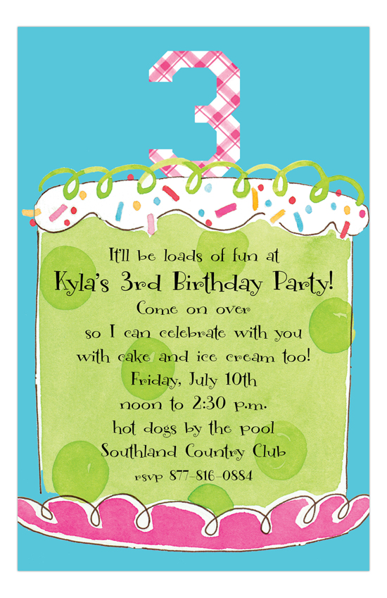 Girl Third Birthday Invitation