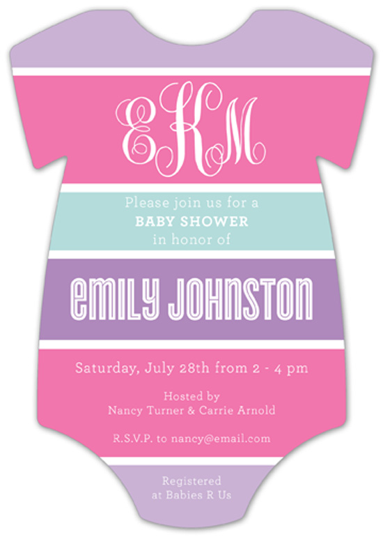 Pink Trio Onesie Baby Shower Invitations for Girl