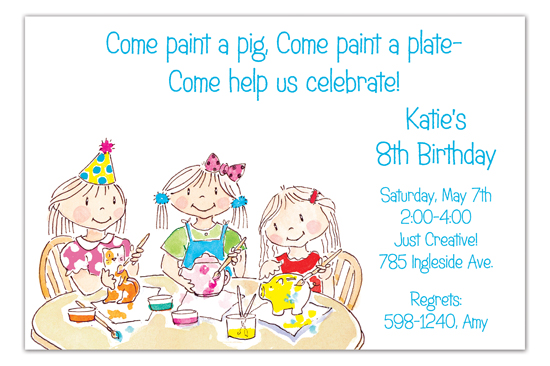 Girls Painting Pottery Invitation
