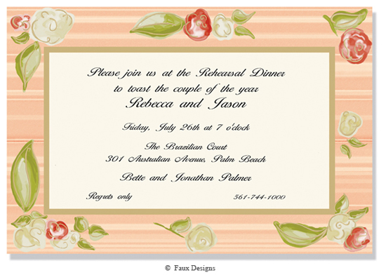 Giverny Apricot and Gold Invitation