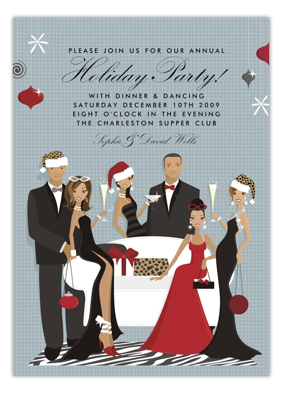 Glamour Group Holiday Party African American Invitation