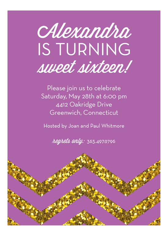 Glitter Chevron Radiant Orchid Party Invitation