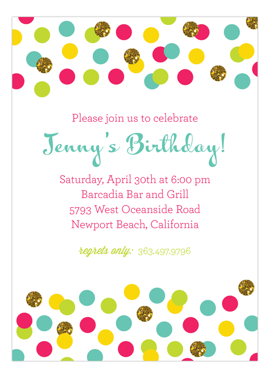 glitter color confetti invitation polka dot glitter invitations