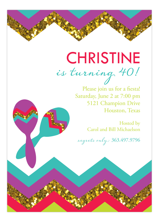 Glitter Fiesta Party Invitation