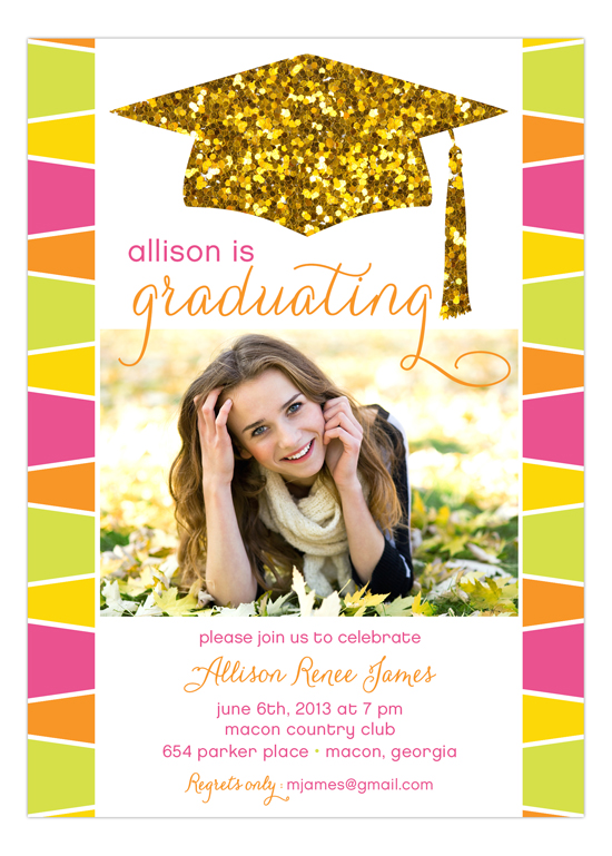 Glitter Graduation Cap Photo Card Invitation