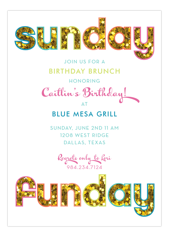 Glitter Sunday Funday Invitation | Polka Dot Glitter Party ...