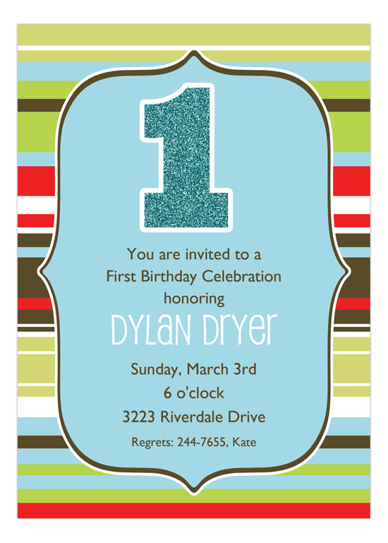 Glittery Stripes Boy Invitation