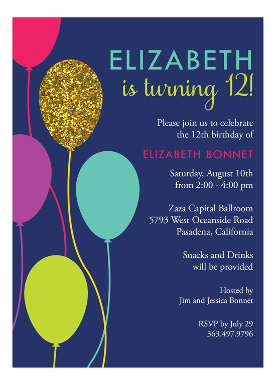 Glitzy Balloon Invitation