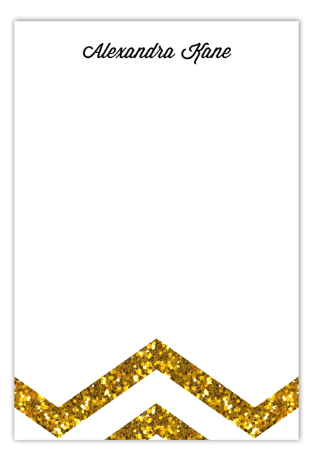 Gold Glitter Chevron Flat Note Card