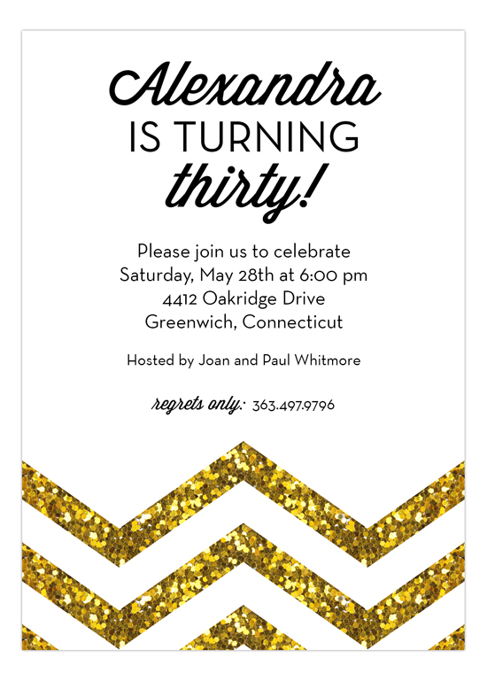 Gold Glitter Chevron Invitation
