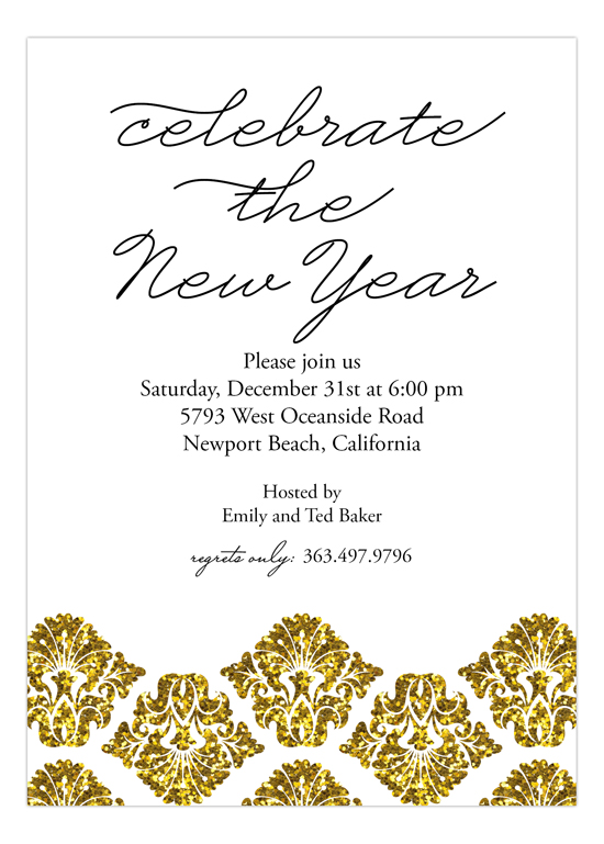 Gold Glitter Damask Invitation