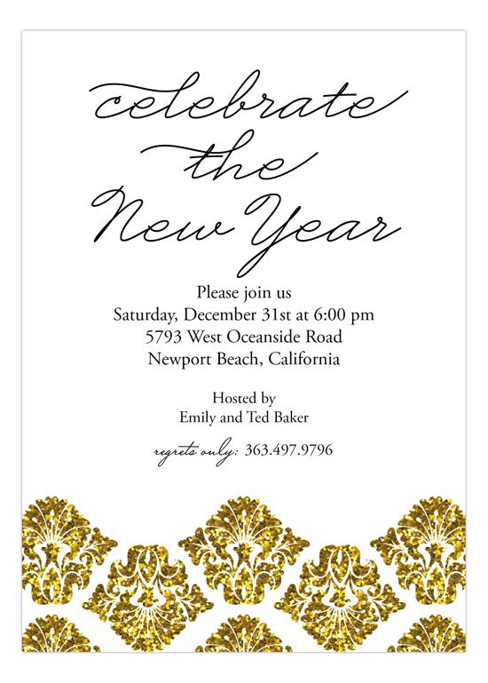 gold glitter damask invitation custom party invitations