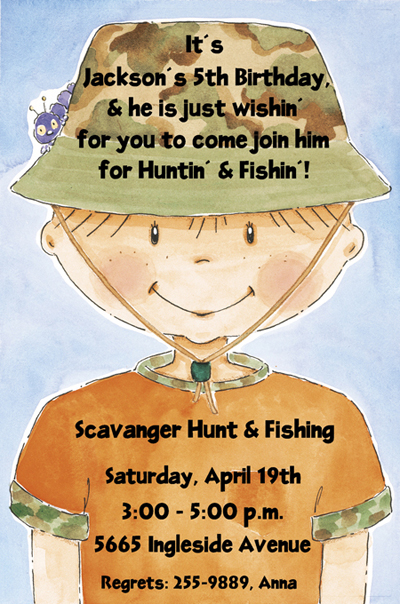 Gone Hunting Kids Birthday Invitation