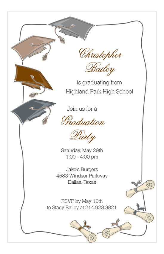 Grad Caps and Diplomas Gray Invitation