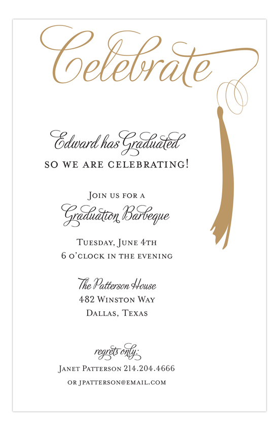Grad Celebrate Gold Invitation