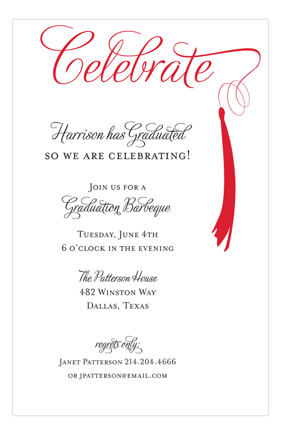 grad celebrate red invitation