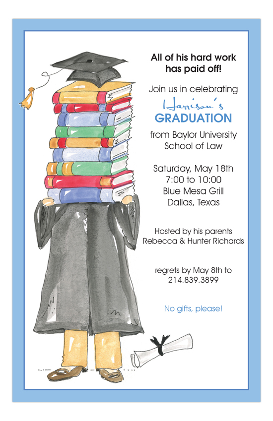 Grad Gown Blue Invitation