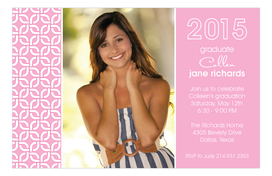 Grad Gown Pink Photo Card