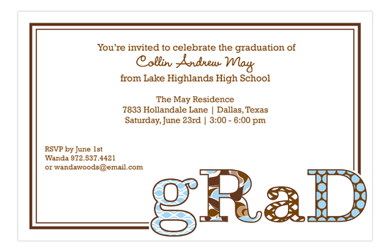 Grad Patterned BluChoc Invitation
