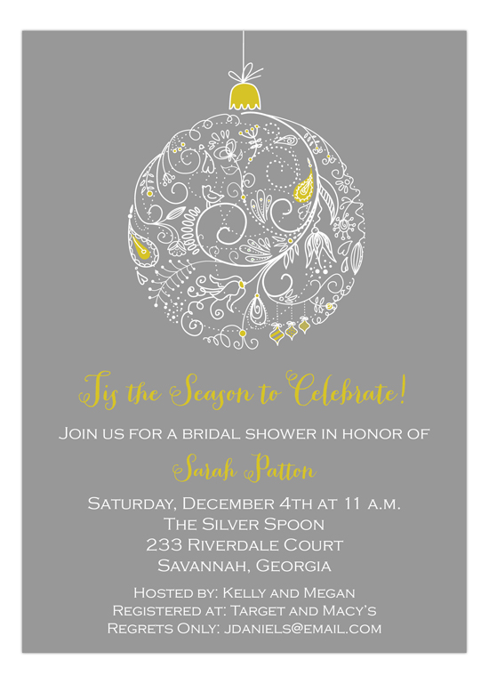 Gray Lace Ornament Invitation