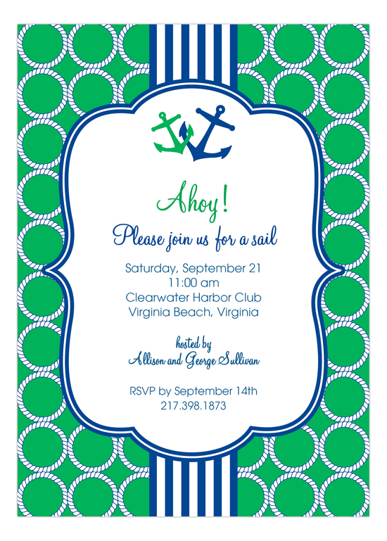 Green and Blue Nautical Monogram Invitation