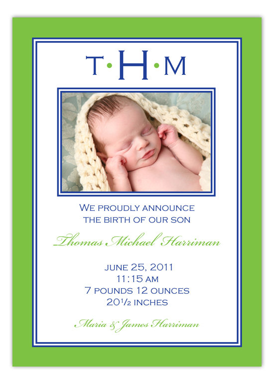 Green and Navy Monogram Border Photo Card