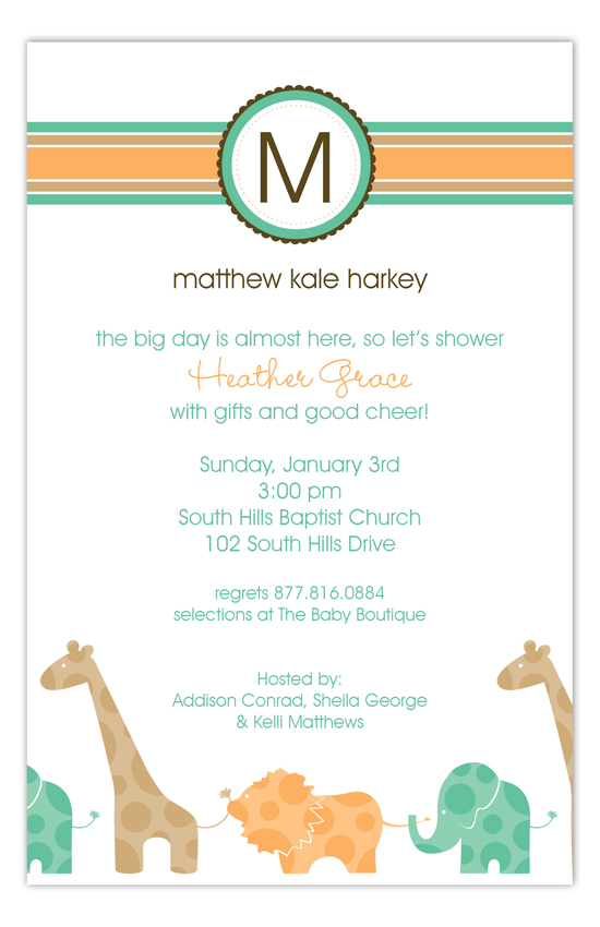 Green Animal Monogram Invitation