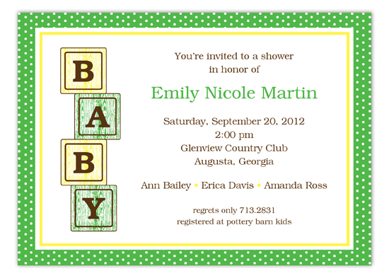 Green Baby Blocks Invitation