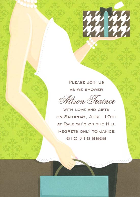 Green Belly Baby Shower Invitation
