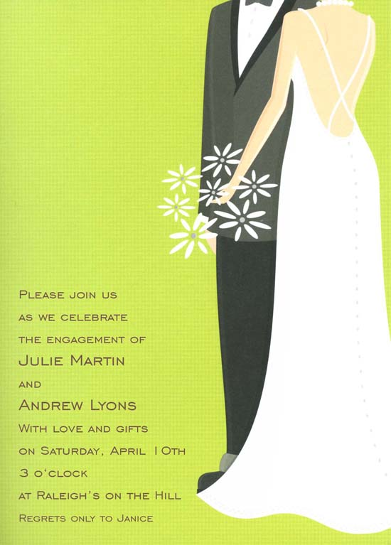 Green Bride and Groom Invitation