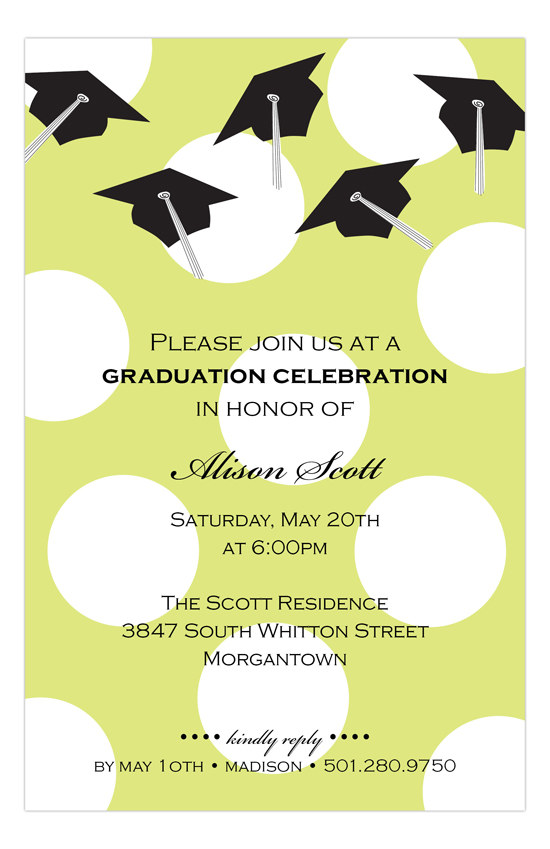 Green Caps and Dots Graduation Invitation