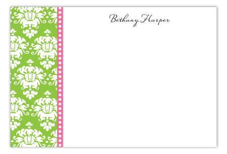 Green Damask Flat Note Card