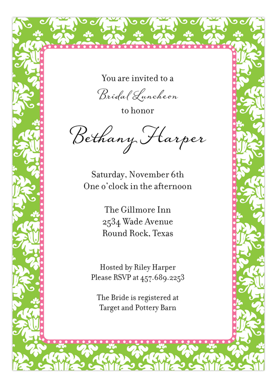 Green Damask Invitation