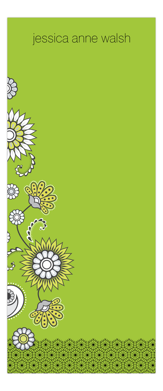Green Floral & Lace Skinny Notepad