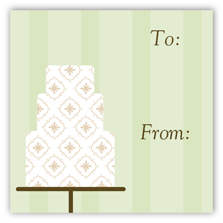 Green Fondant Pattern Gift Tag