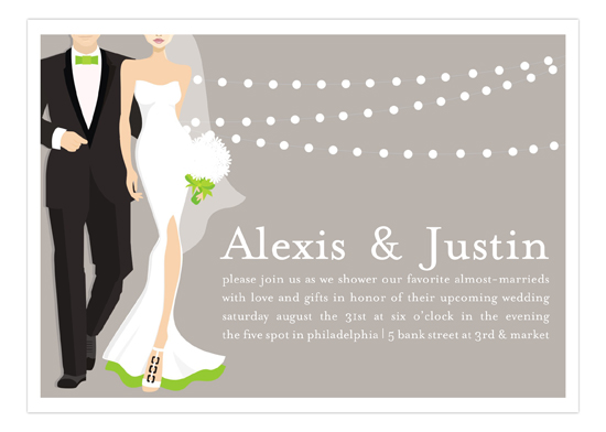 green glamour couple wedding shower invitation
