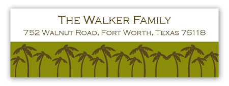 Green Holiday Palm Address Label